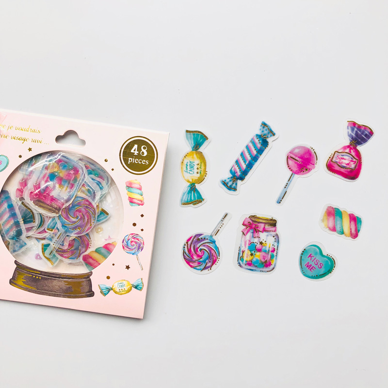 48 pcs /Bag Sweet Candy Hot Stamping Decorative Stickers
