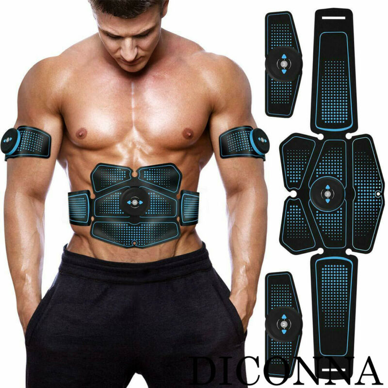 2020 Men Body Building Fitness Equipments Electric Muscle Toner Machine Wireless Toning Belt 6 Six Pack Abs Fat Burner Ab Roller