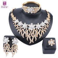 Wedding Full Rhinestone Crystal Flower Bridal African Gold Color Necklace Earrings Bracelet Ring Women Party Jewelry Sets