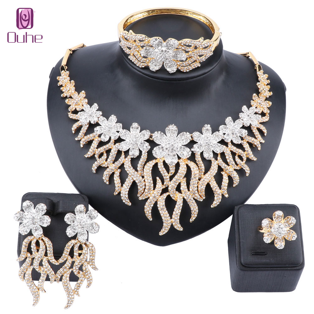 Mariage complet strass cristal fleur mariée africaine or couleur collier boucles d'oreilles Bracelet anneau femmes fête bijoux ensembles