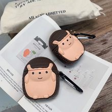 For AirPods Case Q Version Cute Pet Little Hedgehog Earphone Case For Apple Airpods 2 Funny Protect Cover with Carabine Hook()