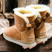 Yeni ayak bileği koyun derisi süet deri avustralya düz kadınlar için kış çizmeler koyun yünü shearling kaplı sıcak kauçuk yumuşak kar ayakkabıları