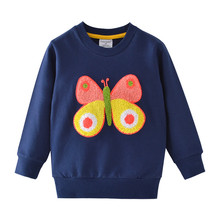 Girls Winter Clothes Cartoon Cute Butterfly Appliques Cotton T shirt for Baby Long Sleeve Warm Tops