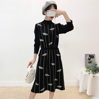 Women Dress Knitted Elegant Bodycon Drawstring Sashes Vestidos Leaves Jacquard Robe Belts Thick Long Sleeve Pullovers Winter