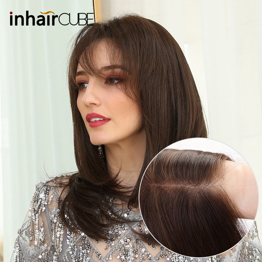 INHAIRCUBE Synthetic Lace Front  Long Wig Highlights Ombre Brown Straight Hair Wigs Natural Hair For African American Women