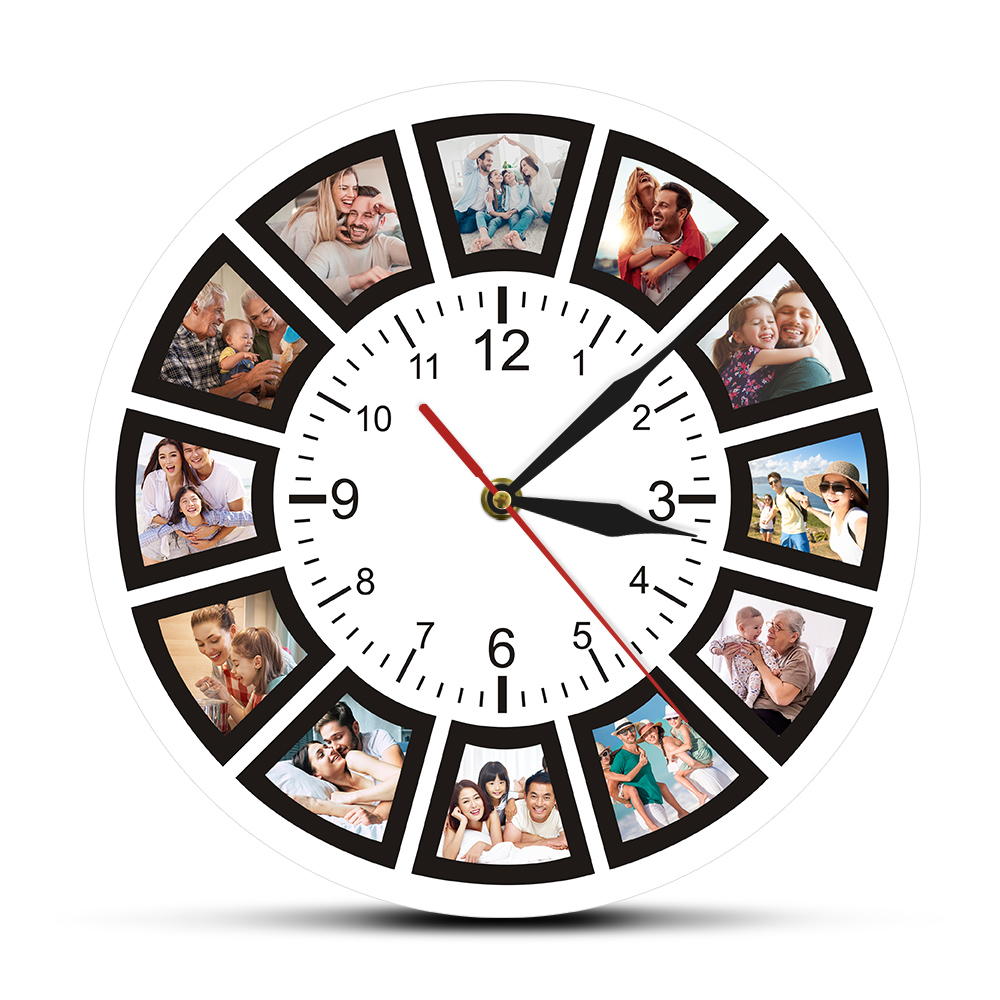 Custom 12 Photos Print Wall Clock Collage Instagram Round Acrylic Mute Watch Personalized Family Picture Hanging Quartz Saat