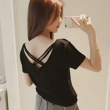 V Neck T-Shirt Women's Fashion Solid Short Sleeve Backless Crisscross Pullover Hollow Out Female Ladies Sexy & Club Tees цена 2017