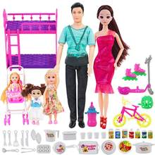 40pcs/set Real Fashion Family 5 People Doll Set Suits 1 Mom/1 Dad/ Two Little Girls/1 Baby Carriage For Girl Dolls Kid Gift Toys(China)