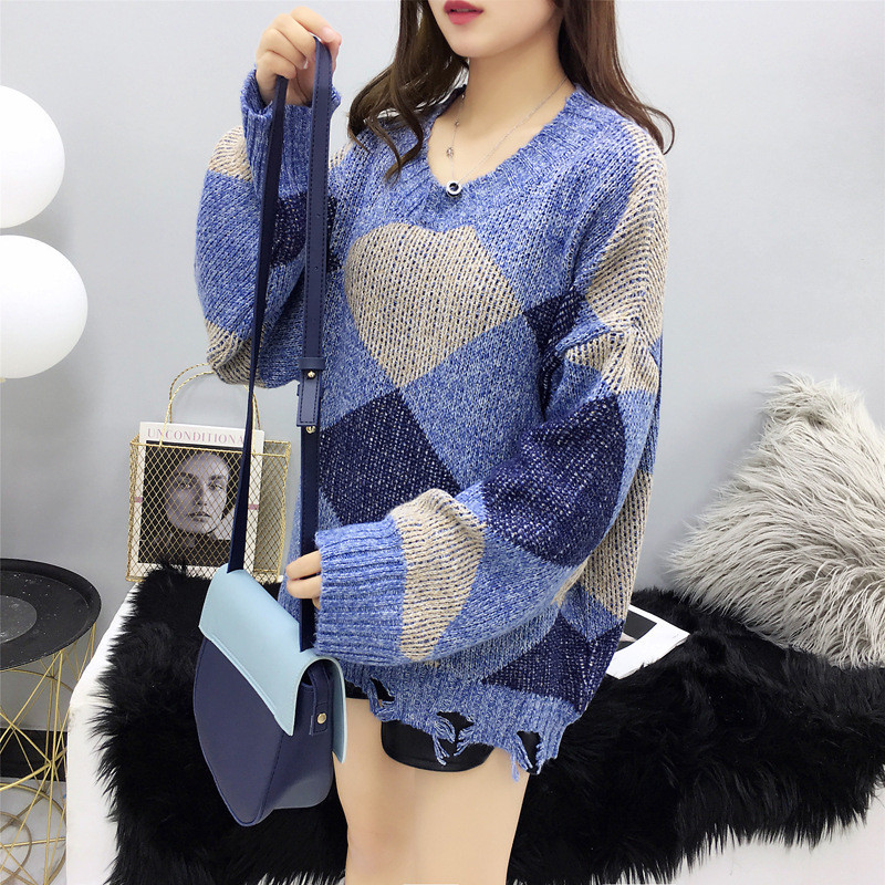 Focal20 Streetwear Hit Color Geometry Women Sweater Top Loose O-neck Female Jumpers Pullovers Casual Spring Autumn Lady Sweaters