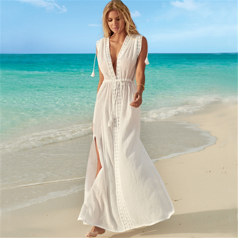 2020 Summer Crochet White Knitted Beach Cover Up Dress Tunic Long Pareos Bikinis Cover Ups Swim Cover Up Robe Plage Beachwear