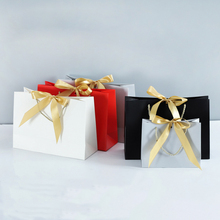 Paper Bag for Gift Box with Ribbon Shopping Clothing Store Craft Paper Box Shipping Package ( Printing Fee is not Included)