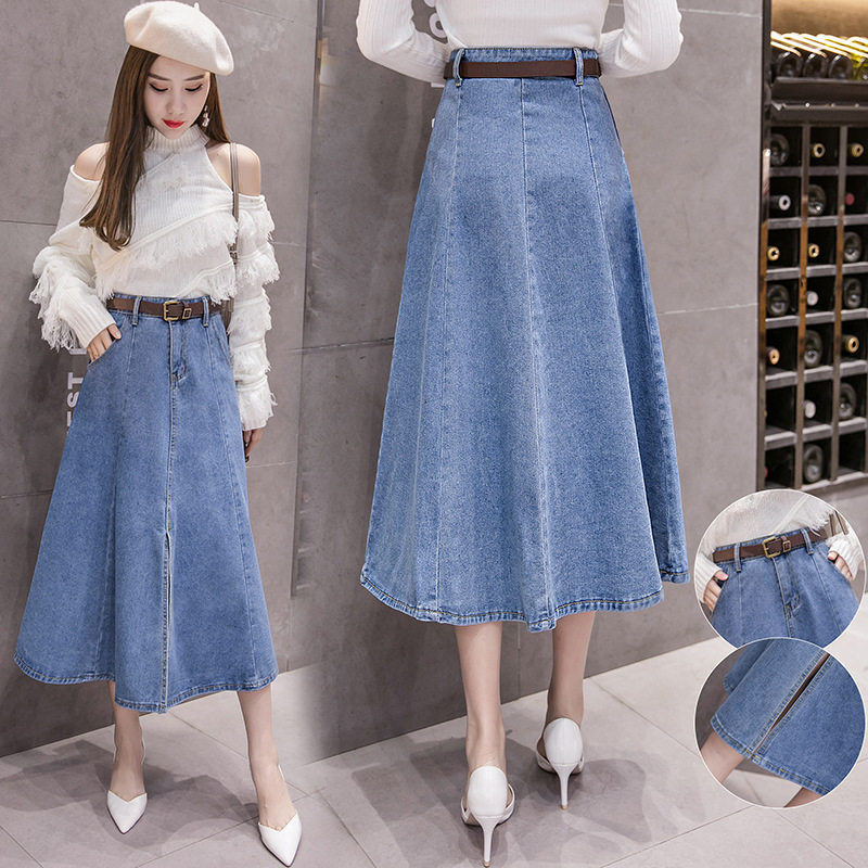 2019 Autumn And Winter Korean-style New Style CHIC Retro Denim Skirt Mid-length High-waisted Big Hemline A- Line Long Skirts Wom
