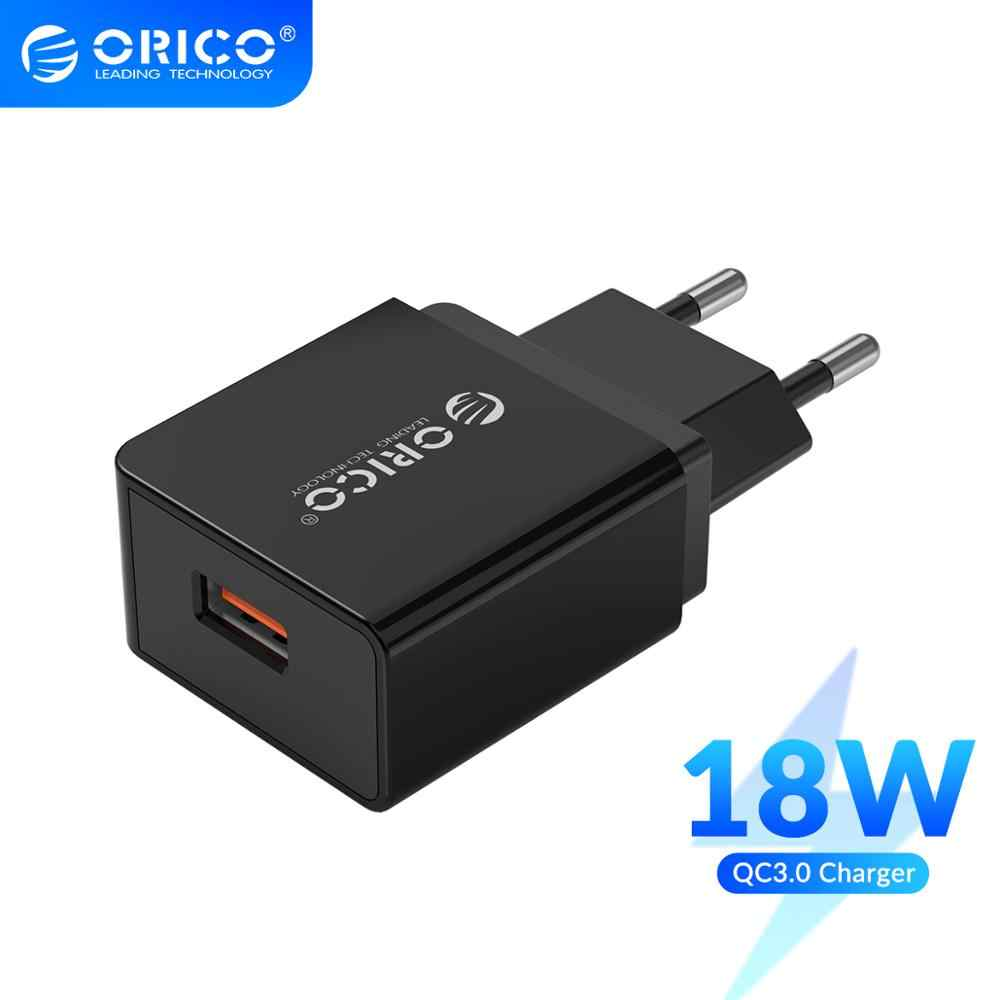 Orico QC3.0 USB Charger 18W USB Charger Uni Eropa Plug untuk Xiaomi I Phone Samsung Huawei Ponsel Charger