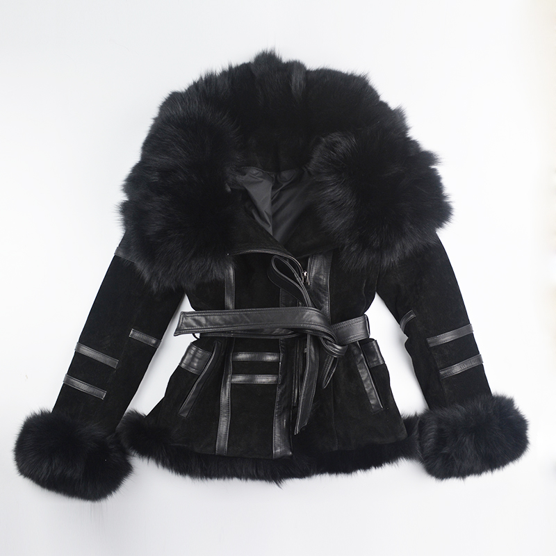 Genuine Leather Jacket For Women Winter Real Fox Fur Coat Zipper Long Sleeve Leather Motorcyle Jacket