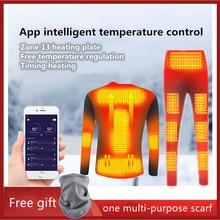 Pants Underwear-Set Motorcycle-Jacket Winter USB Battery-Powered Temperature Smart-Phone-Control