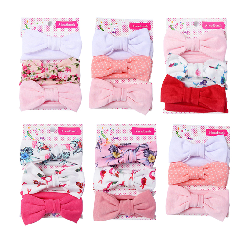3Pcs/set Baby Headband Floral Solid Color Dot Printed Pink Bows Newborn Baby Girl Headband Hair Accessories Girls Turban