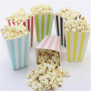 12pcs Colorful Dot Wave Striped Paper Popcorn Boxes Pop Corn Favor Bags For Candy/Snack/Chips Wedding Xmas Birthday Movie Party(China)