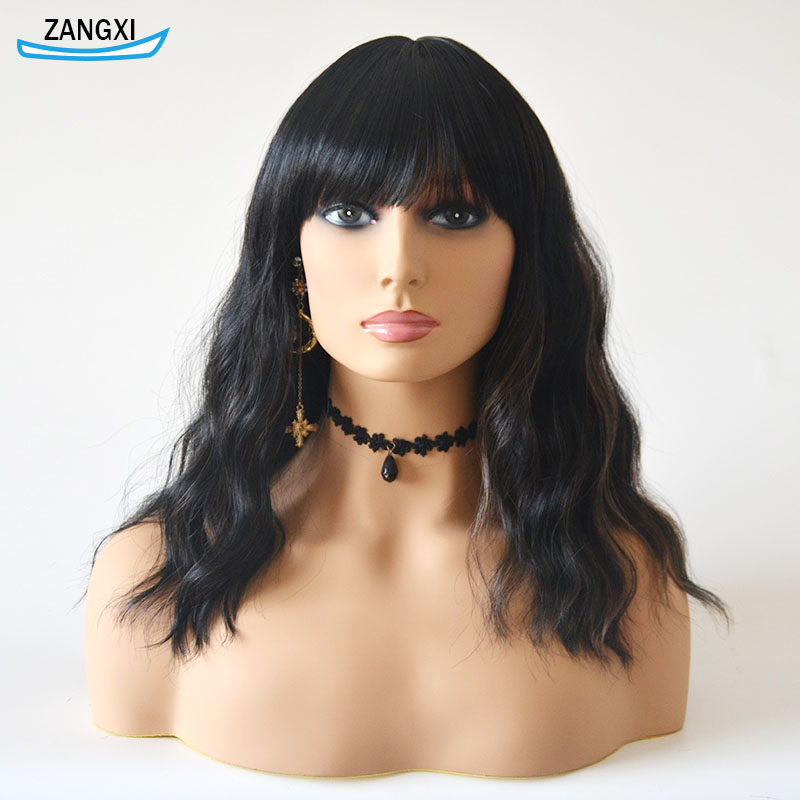 High Temperature Fiber Natural Hair Wig For Daily And Cosplay 16inch Black Bob Wigs For Women Short Water Wave Bob Wig