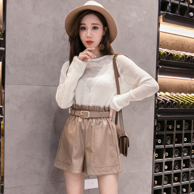 Elegant Leather Shorts Fashion High Waist Shorts Girls A-line  Bottoms Wide-legged Shorts Autumn Winter Women 6312 50 5