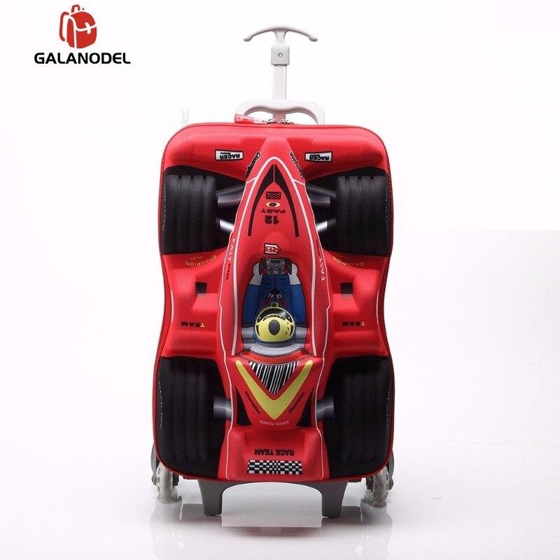 Sac roulant de roue de poussée de voiture de garçon 18 pouces 3D escalade escalier chariot dessin animé enfants voiture embarquement bagages de cabine enfants bagages