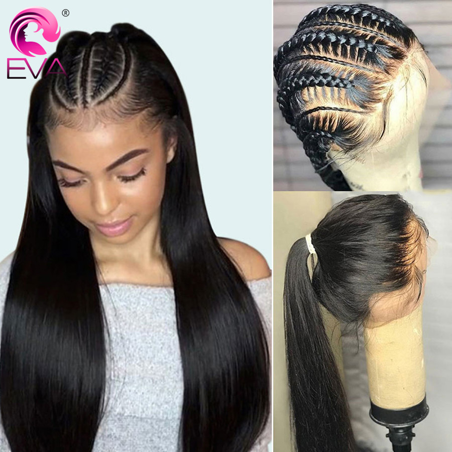 Eva Straight 13x6 Lace Front Human Hair Wigs Pre Plucked 370 Lace Frontal Wigs With Baby Hair Brazilian Fake Scalp Wig Remy Hair
