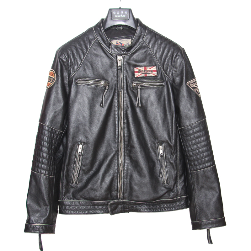 Motorcycle Leather Jacket Men 100% Genuine Cowhide Leather Coat Men Slim Fit Bomber Moto Biker Leather Coat M101
