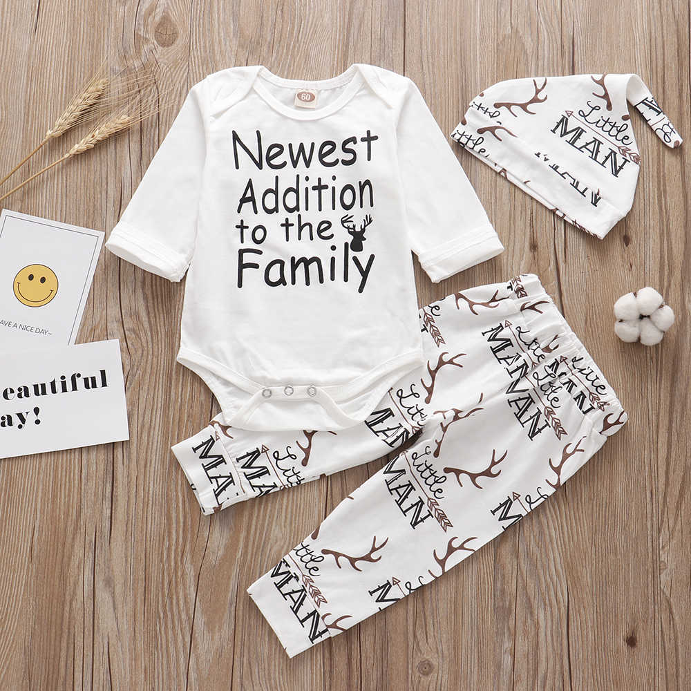 Newborn infant baby clothing set Newest Additon To The family Outfits Romper+pants+headband /Hat 3PCS Baby Clothes Sleepwear