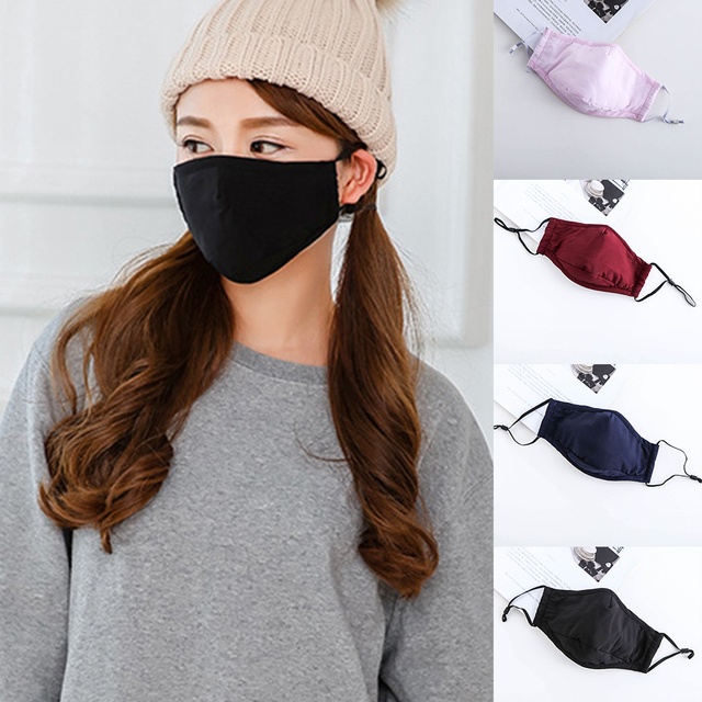 Cotton  PM2.5 Black mouth Mask Anti Dust Masks Activated Carbon Filter Windproof Mouth-muffle bacteria proof Flu Face Masks Care 1