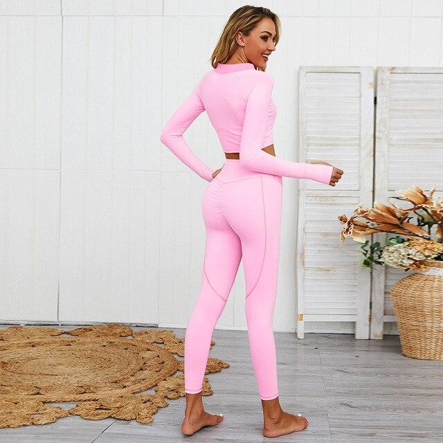 Фото женский бесшовный комплект для йоги одежда тренажерного зала