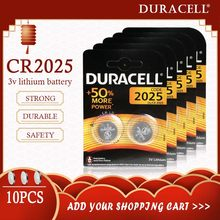 Lot de 10 piles bouton au Lithium 3V pour DURACELL, pour montre, jouet, ordinateur, calculatrice, commande, originales, CR2025, 2025