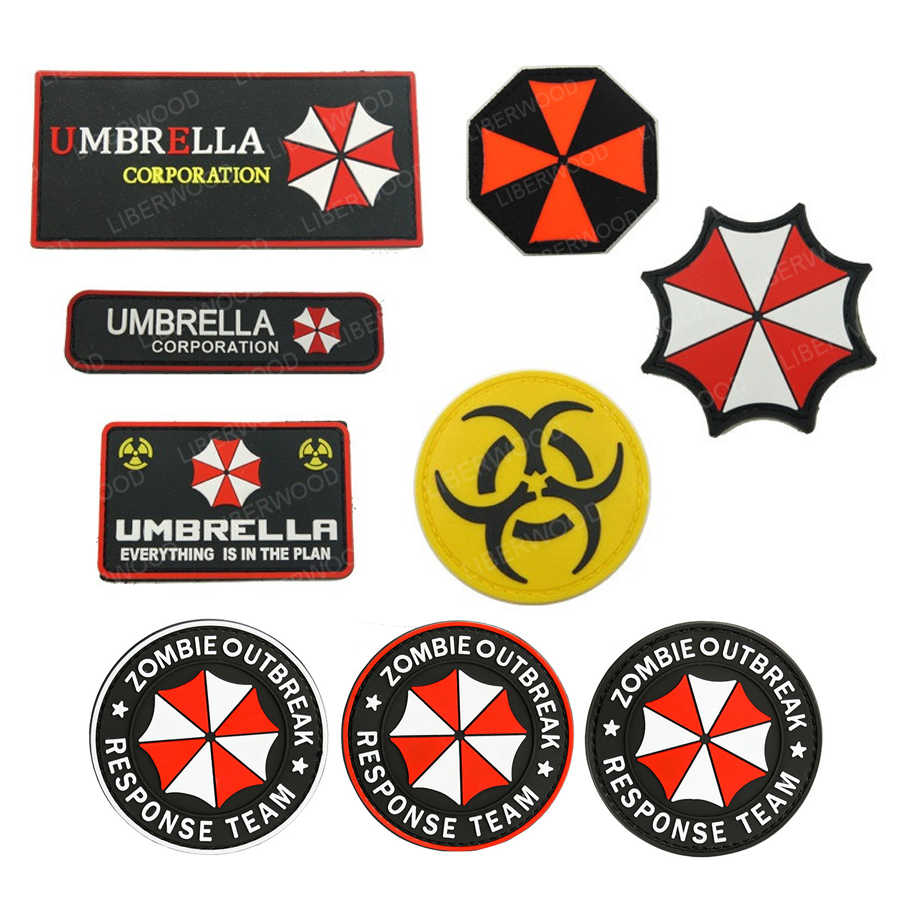 Umbrella Corporation Moral PVC 3D Karet Lencana Militer Taktis Patch Raccoon Logo Corp Polisi Paintball Insignia