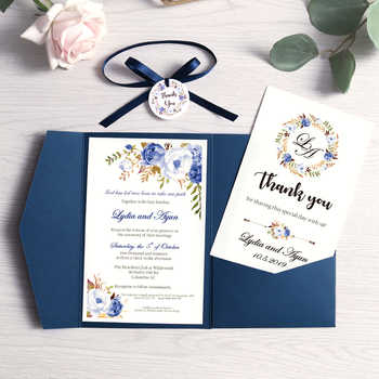 100pcs Blue Pink Burgundy Greeting Cards with Envelope Customized Party Wedding Invitations with Ribbon and Tag, DH0001 - DISCOUNT ITEM  0% OFF All Category