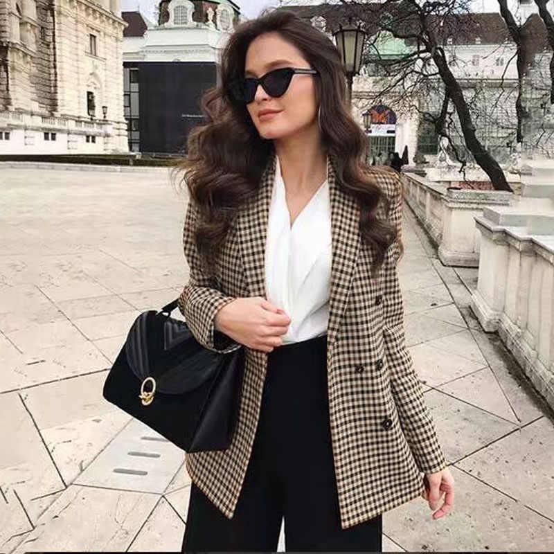 Affogatoo moda kruvaze ekose blazer kadınlar uzun kollu ince OL blazer 2018 rahat sonbahar ceket blazer kadın