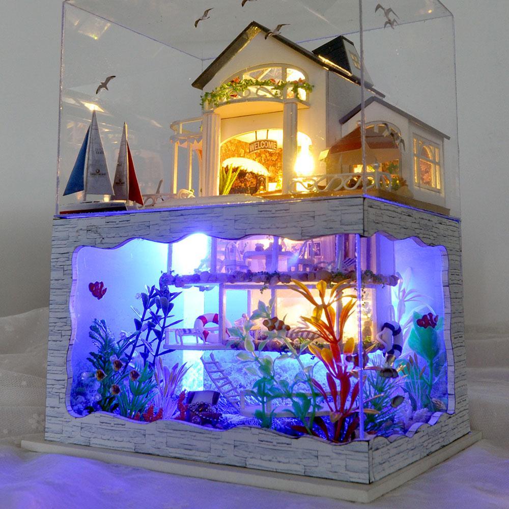 Bricolage Mini maison de poupée assemblage Hawaii bricolage maison travail manuel jouet artisanat décorations Flash modèle Miniature jouet éducatif pour les enfants