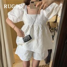 Rugod/Элегантные Однотонные блузки с рукавами фонариками и квадратным