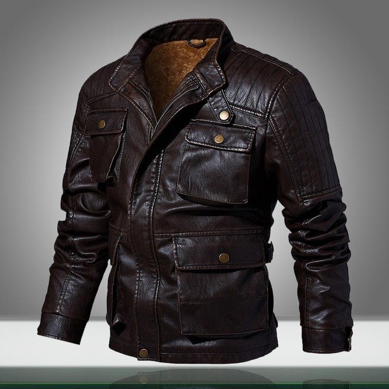2019 New Men Pilot Jackets Warm Casual Motorcycle Leather Military Coats Winter Male Fitness Bomber Jacket Jaqueta Masculina