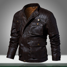 Jaqueta piloto casual de couro masculina, casacos militares quentes de motocicleta, fitness, inverno 2020