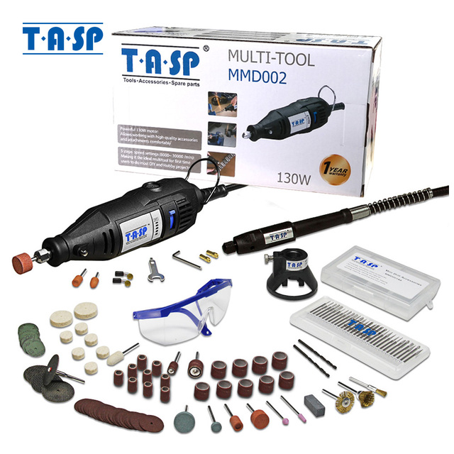 TASP 220 V 130 W חשמלי מיני תרגיל סט רוטרי כלי ערכת משתנה מהירות חרט עם 140 pcs אביזרי & קבצים מצורפים