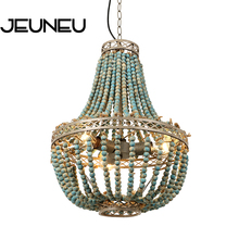Rustic Retro Loft Vintage Pendant Lamp E27 E26 Led Blue Wooden Beads Hanging Lamp Industrial Decor Lights for Living Room Hotel solled vintage rustic hemp rope ceiling lamp chandelier wiring e27 220v pendant lights for living room bar decor