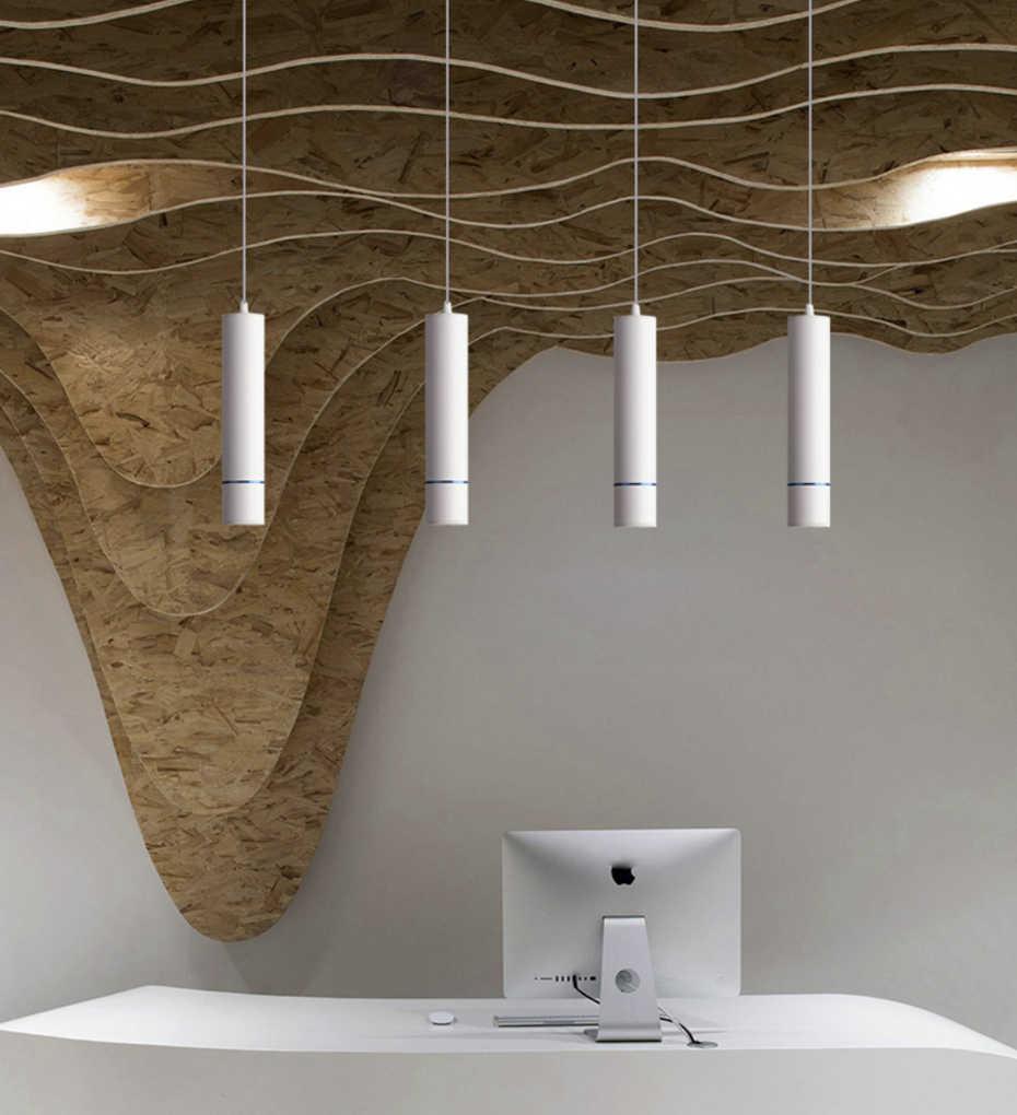 Luminária suspensa com tubo macaron, lâmpada pendente moderna de led, luz para quarto, cozinha