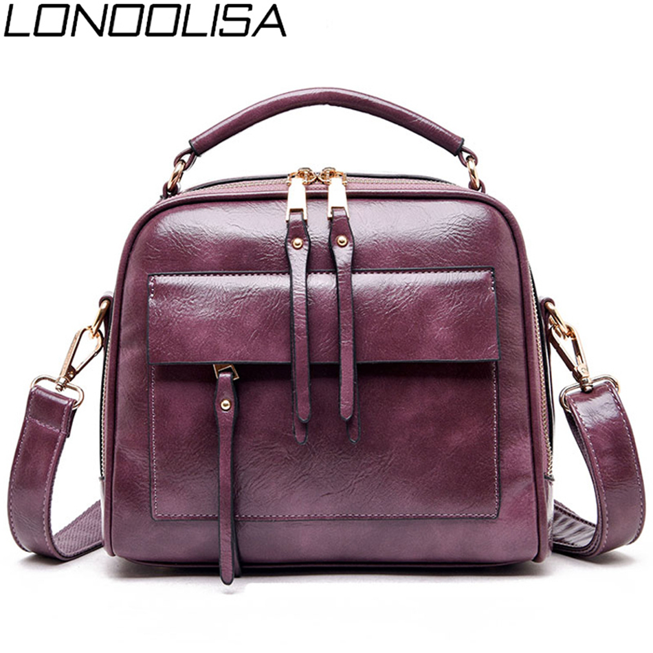 Image 2 - Genuine Leather Luxury Handbags Women Bags Designer Vintage Ladies Double Layer Inner Shoulder Bag Crossbody Bags for Women 2019-in Top-Handle Bags from Luggage & Bags