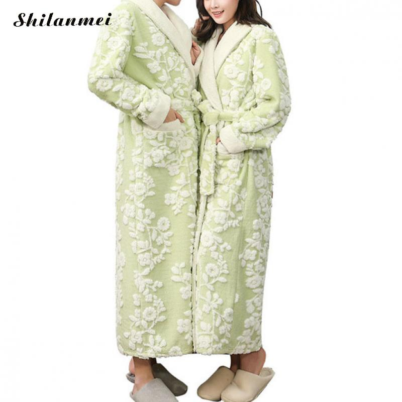 Vintage Floral Flannel Robe Men'S Bathrobe Autumn Winter Long Robe Male Thick Solid Dressing Gown Belted Empire Mens Bath Robe