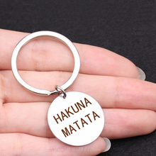 HAKUNA MATATA Engraved Keychain Stainless Steel Movie African Proverb Key Chain Silver Jewelry Lettering Pendant Women Gift