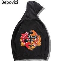 Bebovizi Chinese Style Top Men Carp Koi Embroidered Print Hooded Sweatshirts Hoodies Harajuku Hip Hop Pullover Hoodie Streetwear