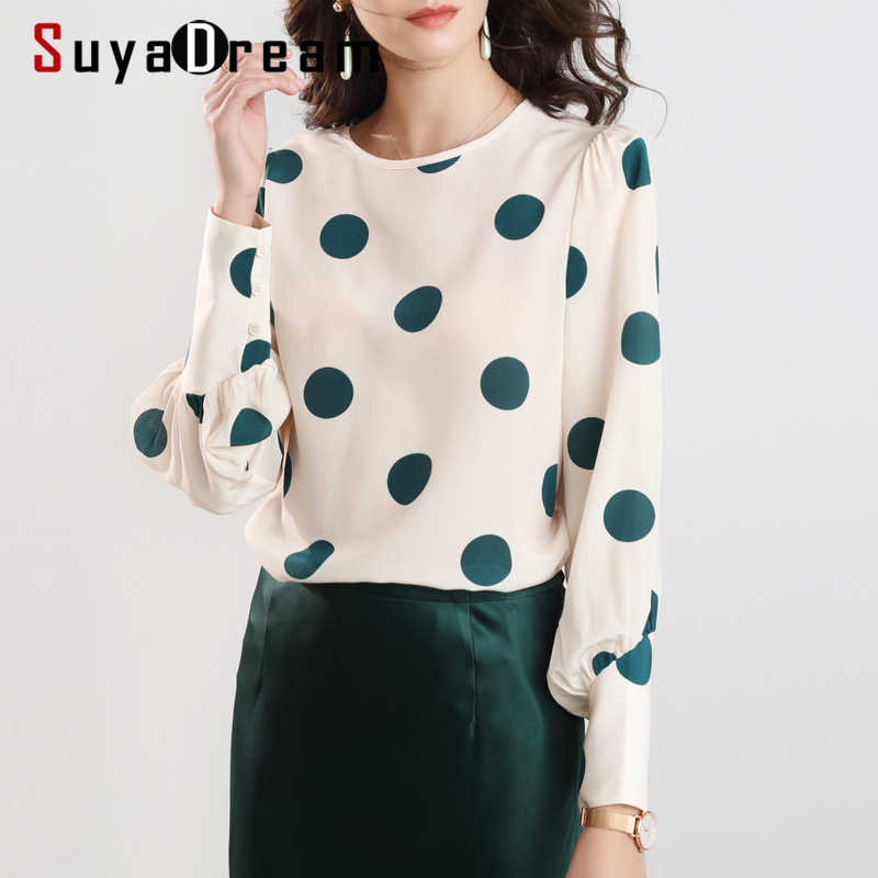 SuyaDream Women Elegant Silk Blouses 100%Silk Crepe Dots Printed Long Sleeved OFFICE Blouse SHIRT 2020 Spring Summer Top