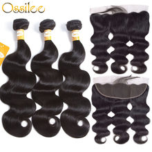 Ossilee − extensions de cheveux malaisiens Remy, cheveux naturels, Body Wave, avec Frontal