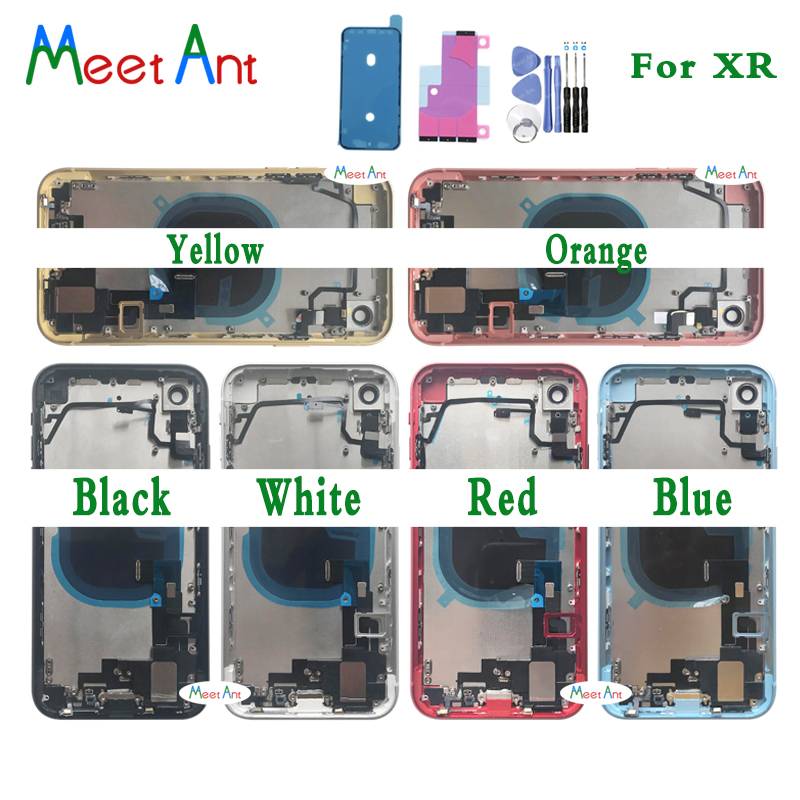 New For iphone XR X Back Housing Assembly Full Middle Frame Chassis Rear Battery Cover With Back Glass Flex Cable