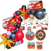 Set de decoración con tema de camión de bomberos, ornamentos en espiral, vajilla desechable, suministros de fiesta de cumpleaños para niños, 1 Juego