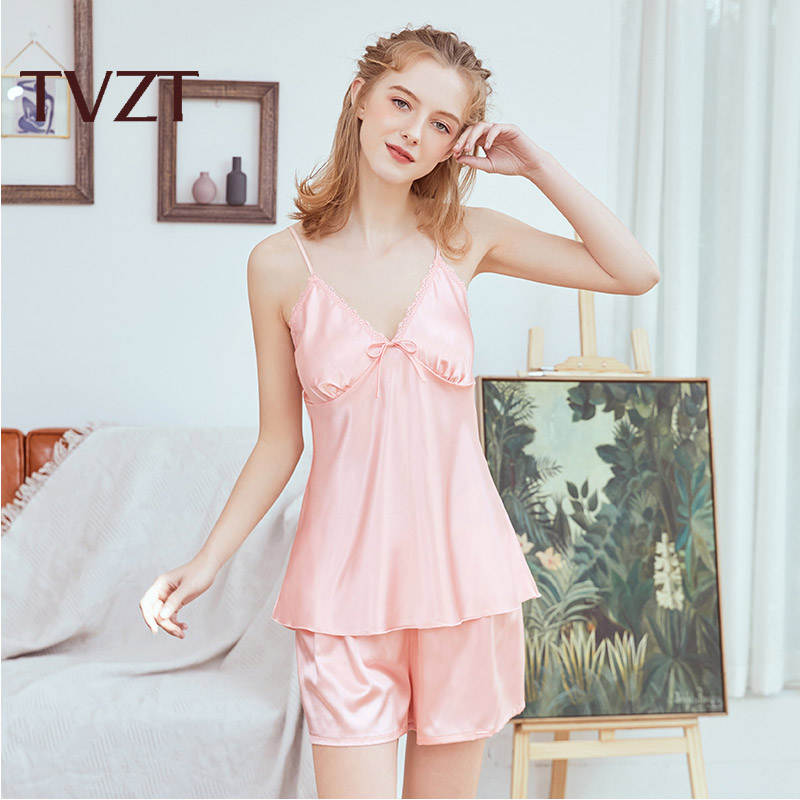Women Pajamas 4Pcs Set Silk Satin Sleepwear  Nightwear Strap Lace Homewear