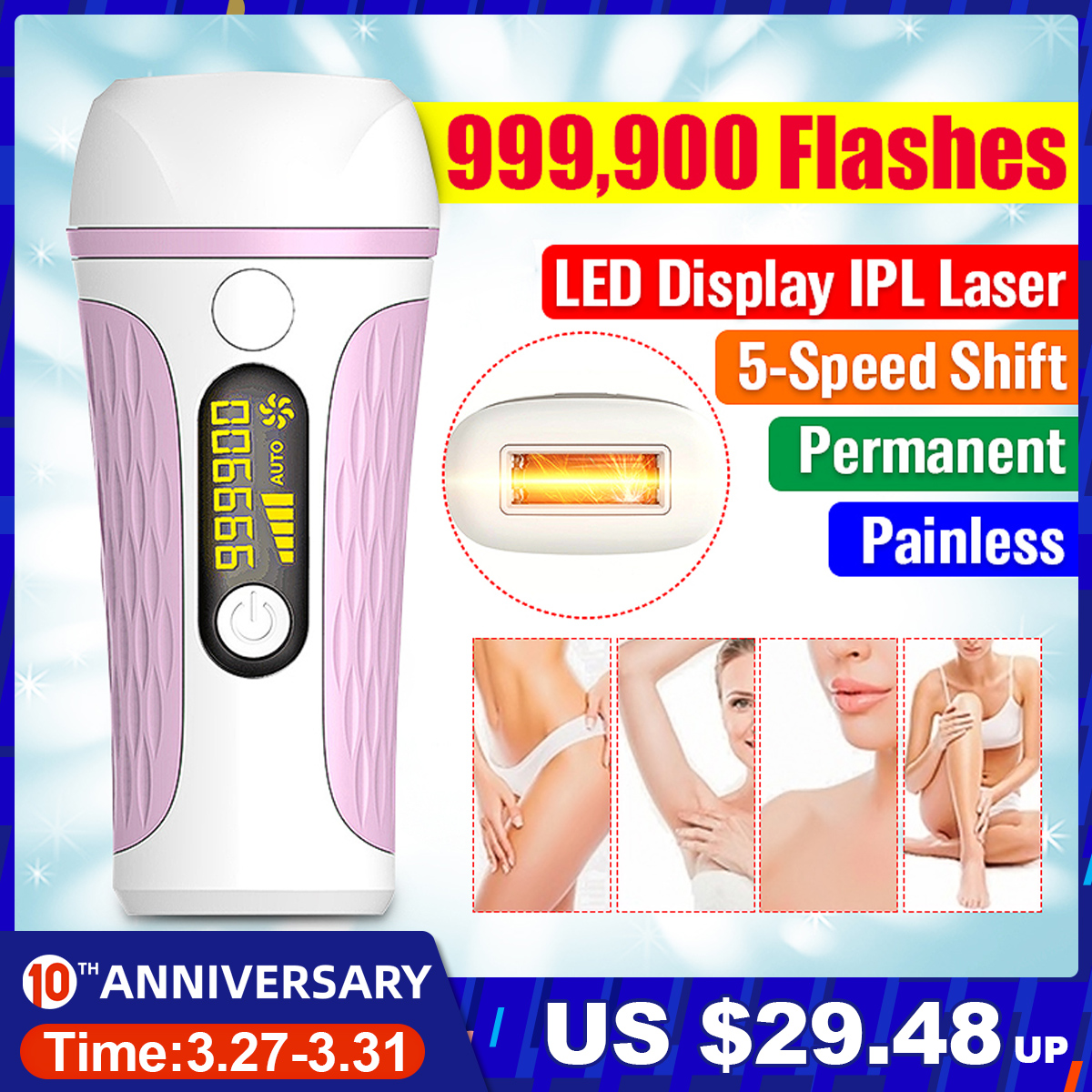NEW 999,900 Flash Professional Permanent IPL Epilator Laser Hair Removal LCD Display Bikini Painless Hair Remover Machine